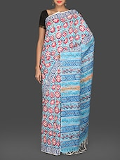 Sky Blue Printed Khesh Silk Saree - Exxclussive- Saree