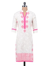 White Printed Jacquard Cotton Kurta - By
