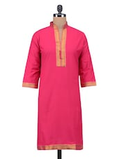 Pink Plain Brocade Straight Cotton Kurta - By