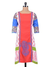 Multicolour Block Printed Straight Cotton Kurta - By