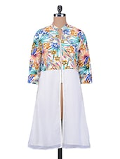 White Printed Poly Crepe Tunic Dress - By