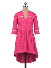 Pink Plain Jacquard Pin Tucked Cotton Tunic - By