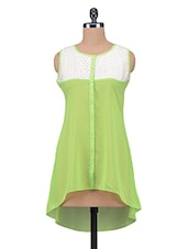Green Plain Poly Georgette Tunic Dress - By