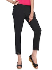 Black Plain Cotton Blend Pants - By