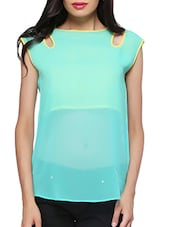 Blue Plain Georgette Top - By