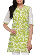 Green Cotton Blend Tunic - By