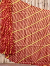 Maroon And Yellow Kota Doria Printed Sari - By