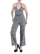 Black And White Polygeorgette Printed Jumpsuit - By
