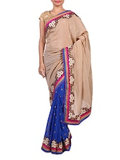 Beige And Royal Blue Art Silk Saree - By