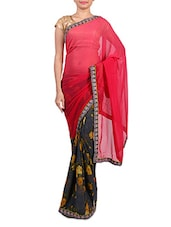 Pink Ombre And Grey Printed Saree - By