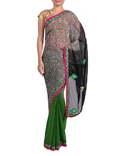 Green And Black Printed Chiffon Saree - By