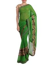 Embellished Green Chiffon Printed Saree - By