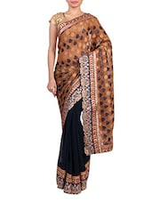 Beige And Midnight Blue Chiffon Saree - By