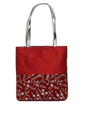 Red Embroidered Silk Tote Bag - By