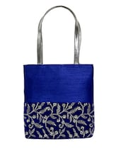 Royal Blue Embroidered Silk Tote Bag - By
