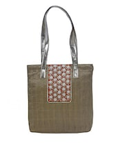 Gold Embellished Silk Tote Bag - By