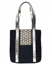 Black Embellished Silk Tote Bag - By