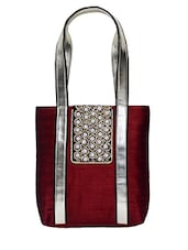 Red Embellished Silk Tote Bag - By - 1198952