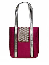 Pink Embellished Silk Tote Bag - By