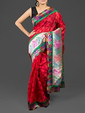 Floral Brasso Work Brocade Border Red Cotton Art Silk Saree - By