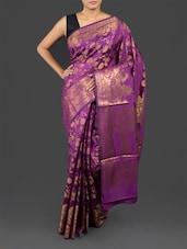 Floral Pattern Purple Brocade Art Silk Saree - By