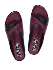 Black And Maroon Faux Leather Slip-On Sandals - By