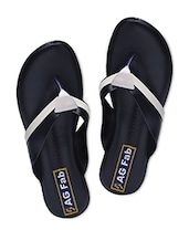 Black And Cream Faux Leather Slip-On Sandals - By