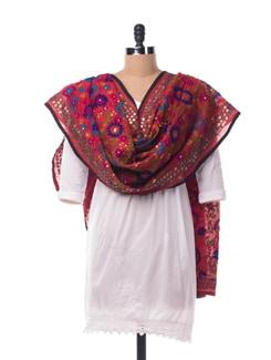 Red Chanderi Silk Phulkari Dupatta - Vayana
