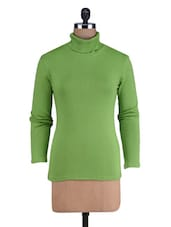 Green Knitted Cotton Rib Turtleneck T-Shirt - By