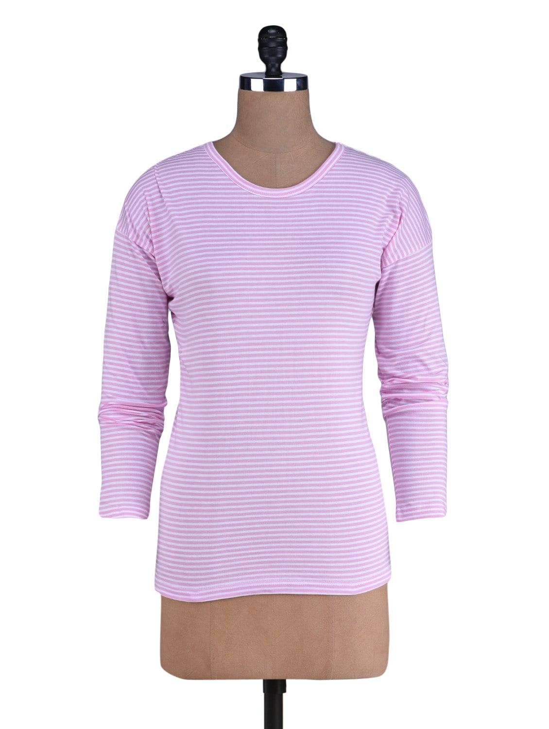 Baby Pink Striped Knitted Cotton T-Shirt - By