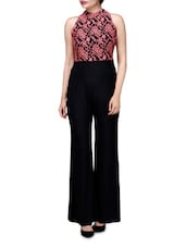 Black And Peach Polyspandex Jumpsuit With Lace Embroidery - By