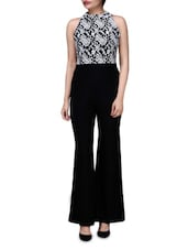 Black And White Polyspandex Jumpsuit With Lace Embroidery - By