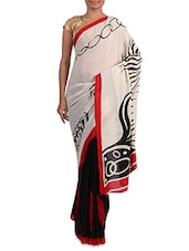Printed White And Black Georgette Saree - Admyrin