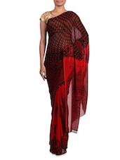 Printed Red And Black Georgette Saree - Admyrin