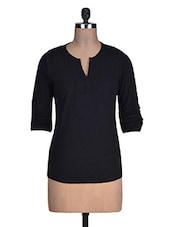 Black Plain Pin Tucked Viscose Crochet Top - Myaddiction