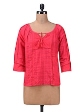 Pink Plain Gathered Cotton Top - Myaddiction