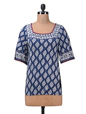 Blue Printed Embroidered Viscose Knit  Top - Myaddiction