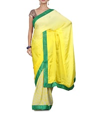 Lemon Yellow Ombre And Printed Saree - By
