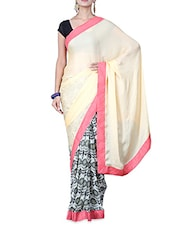 Pale Yellow And Grey Printed Saree - By
