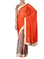 Orange And Grey Printed Reversible Saree - By