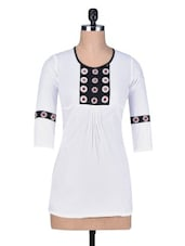 White Cotton Tunic With Mirror Work - Indidori