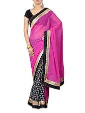 Pink And Black Printed Georgette Saree - By