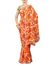 Cream And Orange Floral Georgette Saree - By
