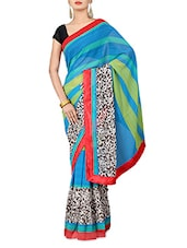 Multicoloured Printed Chiffon Saree - By