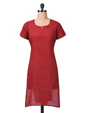 Striped Maroon Cotton Kurta - By