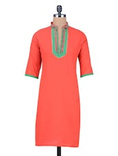 Red Cotton Kurta With Yoke Detail - By