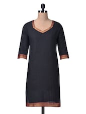 Black Cotton Kurta With Brocade - By