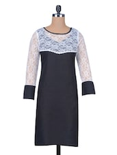 Black Cotton Kurta With Lace Yoke - By