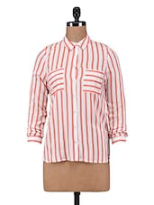 Red And White Striped Rayon Shirt - By