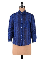 Blue Printed Poly Georgette Shirt - By